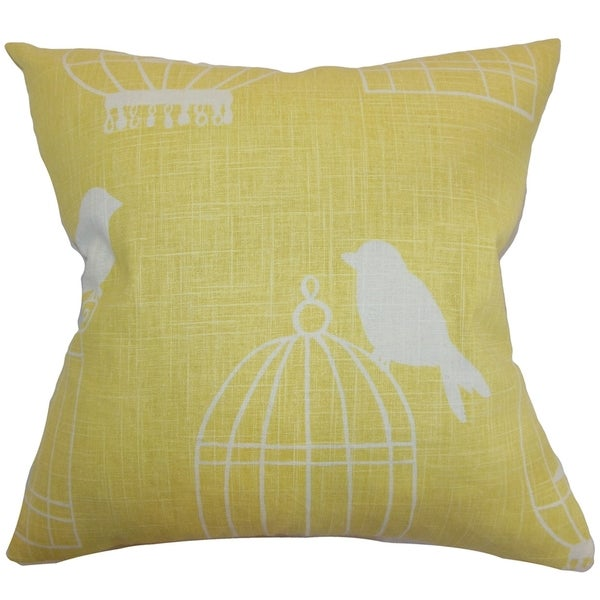 Alconbury Birds Down Filled Throw Pillow Canary