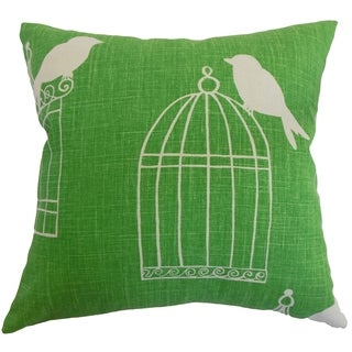 Alconbury Birds Green Down Filled Throw Pillow