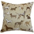 Wonan Dogs Print Toast Down Filled Throw Pillow