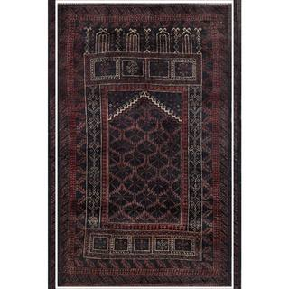 Semi-antique Afghan Hand-knotted Tribal Balouchi Navy/ Maroon Wool Rug (2'8 x 4'3)