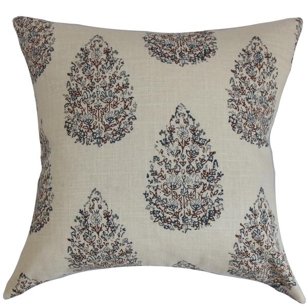 Faeyza Floral Indigo Down Filled Throw Pillow