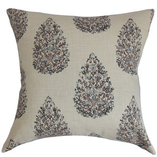 Faeyza Floral Indigo Down Filled Throw Pillow