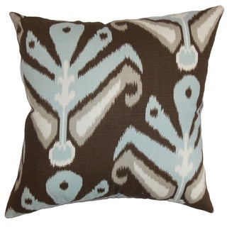 Sakon Ikat Down Filled Throw Pillow Ikat Aqua Cocoa