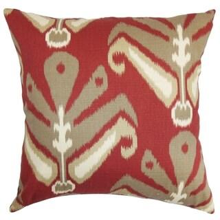 Sakon Ikat Red Brown Down Filled Throw Pillow