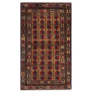 Semi-antique Afghan Hand-knotted Tribal Balouchi Beige/ Navy Wool Rug (2'11 x 4'11)