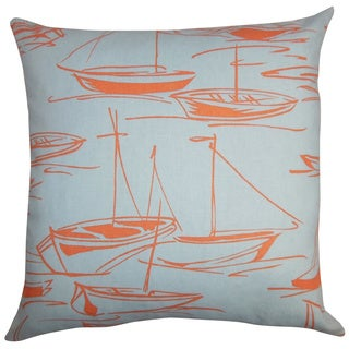 Gamboola Nautical Down Filled Throw Pillow Orange Blue