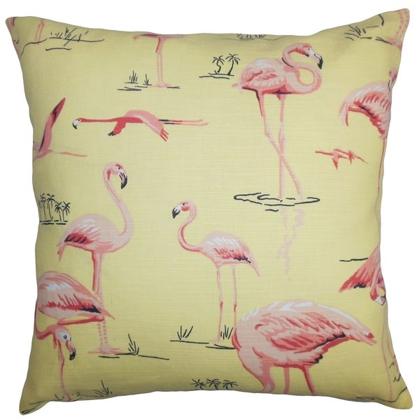Qusay Animal Print Yellow Pink Down Filled Throw Pillow
