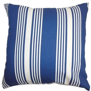 Perri Stripes Down Filled Throw Pillow Blue White