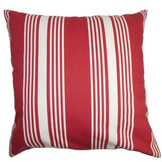 Perri Stripes Down Filled Throw Pillow Red White