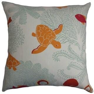 Ondine Coastal Down Filled Throw Pillow Coral White