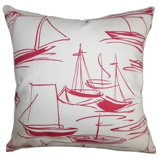 Gamboola Nautical Down Filled Throw Pillow Red White
