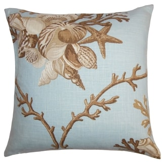 Maj Coastal Blue Brown Down Filled Throw Pillow