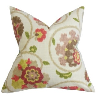 Tarian Floral Down Fill Throw Pillow Green