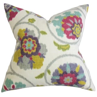 Tarian Floral Down Fill Throw Pillow Red Green