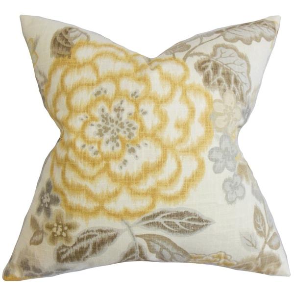 Yellow Down Throw Pillows : Unai Floral Down Fill Throw Pillow Yellow