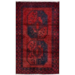 Herat Oriental Semi-antique Afghan Hand-knotted Tribal Balouchi Red/ Navy Wool Rug (2'9 x 4'6)