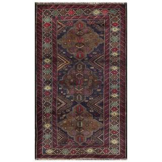 Semi-antique Afghan Hand-knotted Tribal Balouchi Navy/ Maroon Wool Rug (2'10 x 4'9)