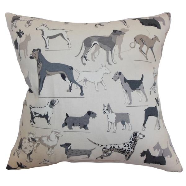 Wonan Dogs Print Grey Stone Down Filled Throw Pillow