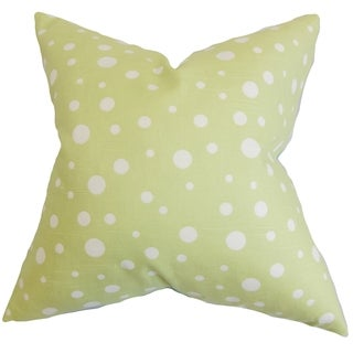 Bebe Celery Green Polka Dots Down Filled Throw Pillow