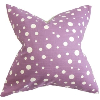 Bebe Purple and White Polka Dots Down Filled Throw Pillow