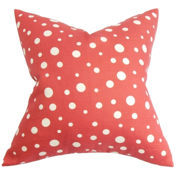 Bebe Red and White Polka Dots Down Filled Throw Pillow