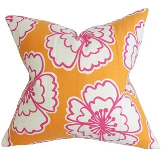 Winslet Floral Down Fill Throw Pillow Orange