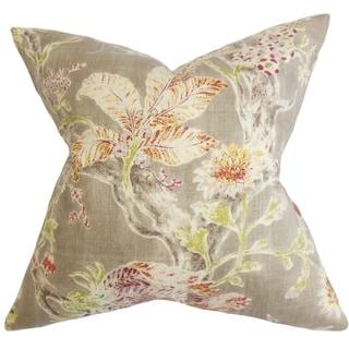 Satriya Floral Down Fill Throw Pillow Red