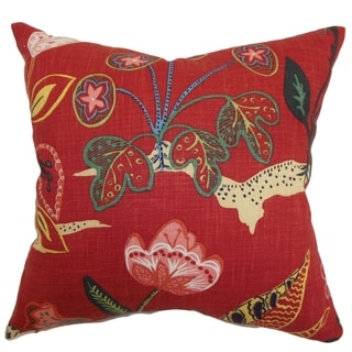 Unayzah Poppy Red Floral Down Filled Throw Pillow
