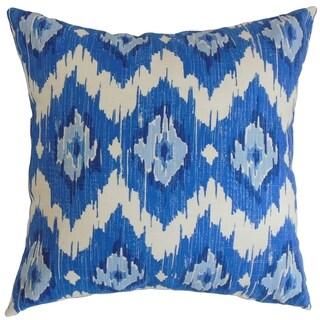Ulrike Blue Ikat Down Filled Throw Pillow