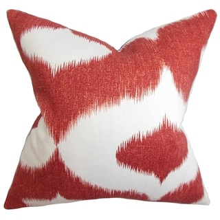Leilani Cherry Red Ikat Down Filled Throw Pillow