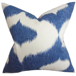 Leilani Blue Denim Ikat Down Filled Throw Pillow