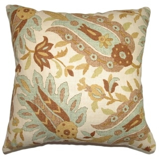 Gafsa Aqua Paisley Down Filled Throw Pillow