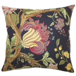 Bella Noir Floral Down Filled Throw Pillow