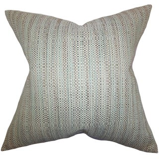 Zebulun Woven Aqua Down Filled Throw Pillow