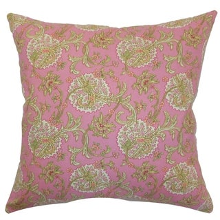 Danica Red/Pink Floral Down Filled Throw Pillow