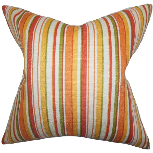 Tait Stripes Down Fill Throw Pillow Orange