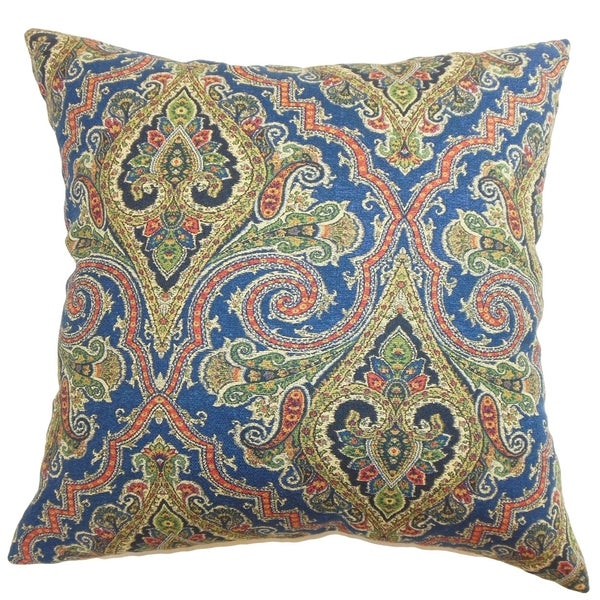 Iberia Blue and Gold Paisley Down Filled Throw Pillow