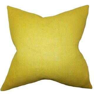 Ellery Yellow Solid Down Filled Throw Pillow
