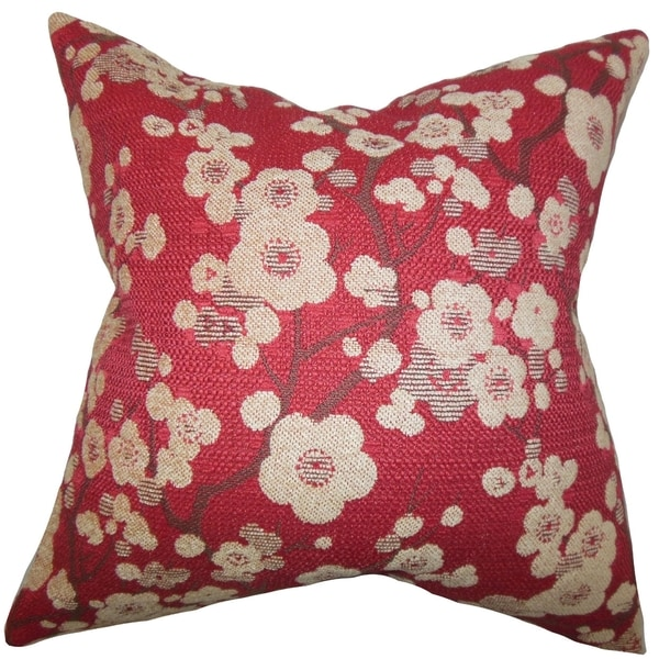 Decima Red Floral Down Filled Throw Pillow