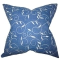 Abihail Blue Floral Down Filled Throw Pillow