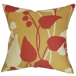 Gardenia Gold/Red Floral Down Filled Throw Pillow