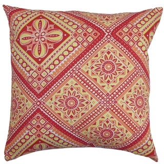 Isaura Geometric Down Fill Throw Pillow Red Yellow