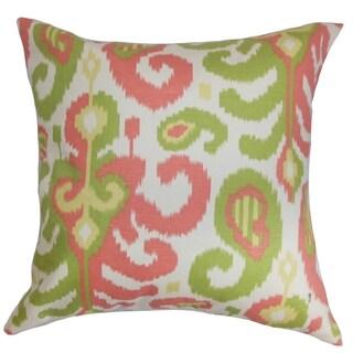 Scebbi Ikat Pink Green Down Filled Throw Pillow
