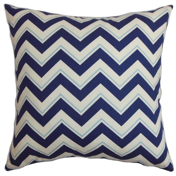 Deion Zigzag Down Fill Throw Pillow Navy Blue