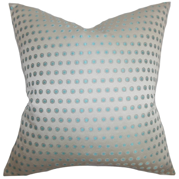 Radclyffe Dot Gray Blue Down Filled Throw Pillow