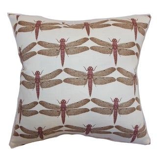 Nkan Lavender Dragonfly Down Filled 18-inch Throw Pillow