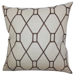 Nevaeh Geometric Down Fill Throw Pillow Brown