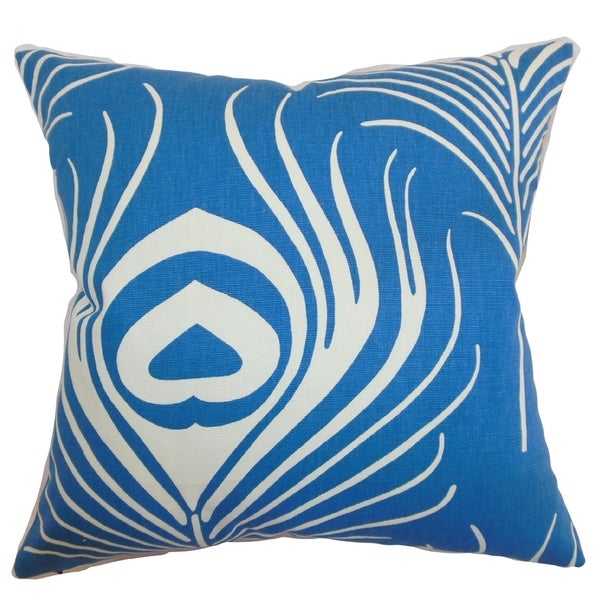 Lamassa Blue Peacock Down Filled Throw Pillow