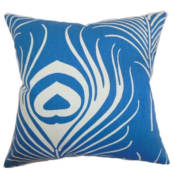 Lamassa Blue Peacock Down Filled Throw Pillow