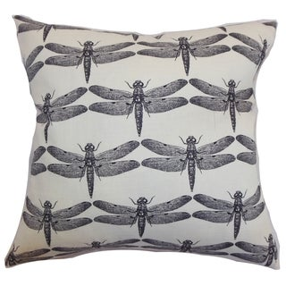 Nkan Black Dragonfly Down Filled Throw Pillow